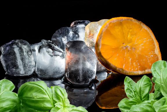 Orange Basil Wine Ice Cubes