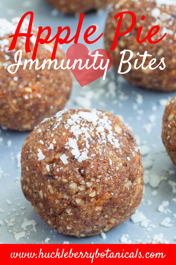 close up of apple pie energy balls with adaptogens and immune-system modulators