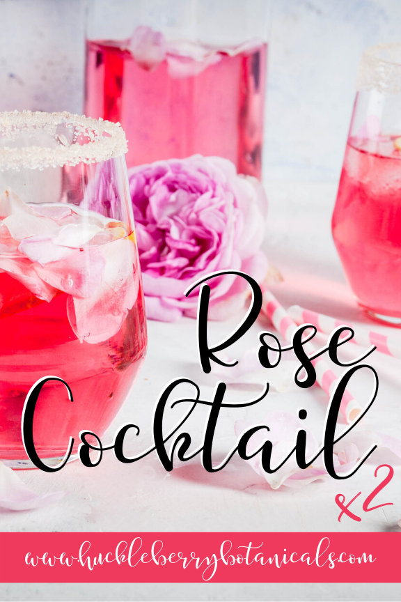 closeup of rose-y pink cocktails with sugar rims, straws and a pink rose
