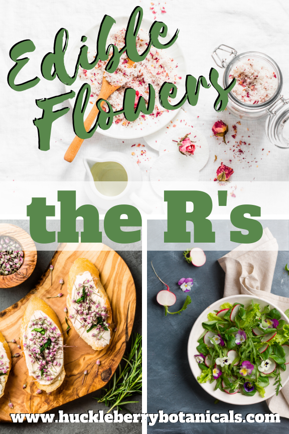Edible flowers of the radish, rose and rosemary used in cooking dishes