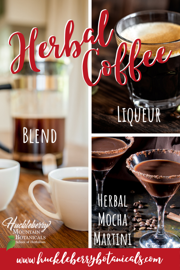 soft focus image of a French press and coffee cups, a shot of coffee liqueur and an herbal mocha martini with a sugared rim