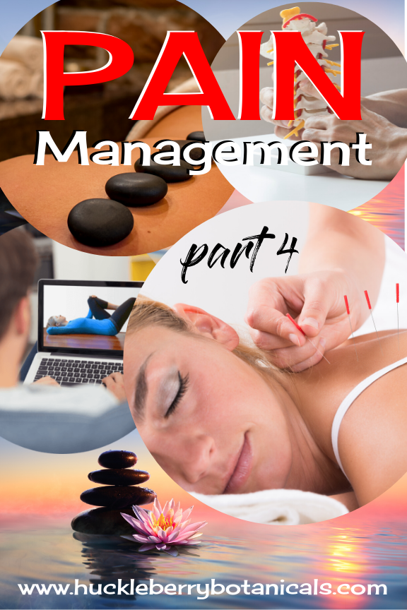 photo collage of pain management modalities like acupuncture, massage and exercise