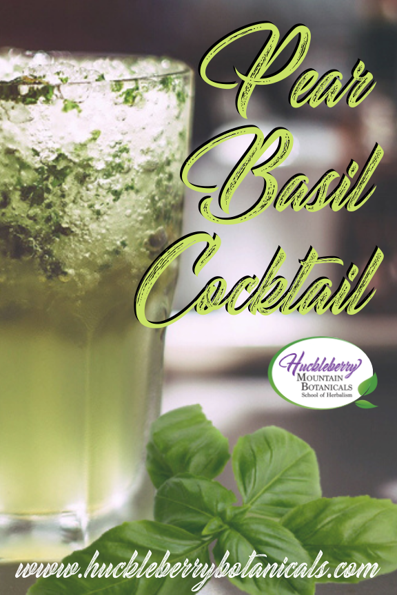 close up a tall cocktail glass with muddled basil
