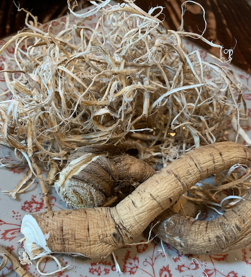 closeup of shredded marshmallow root