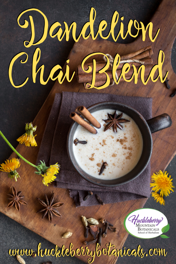 overhead shot of a mug of dandelion chai tea with cinnamon sticks and strewn dandelion flowers on a wooden cutting board