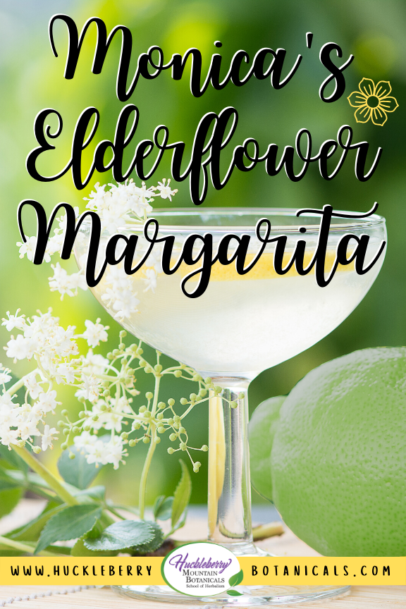 soft focus view of a margarita glass with elderflowers and lime