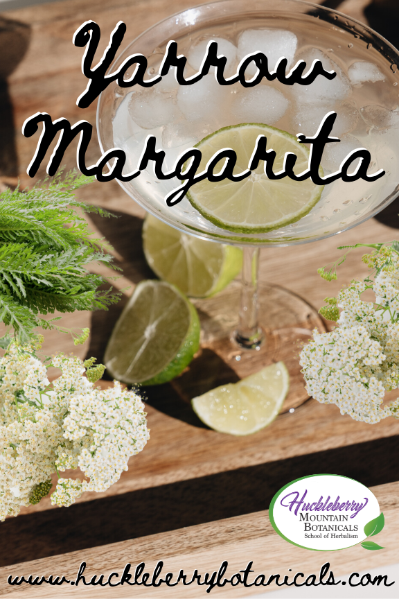 overhead view of a margarita glass with yarrow and lime wedges